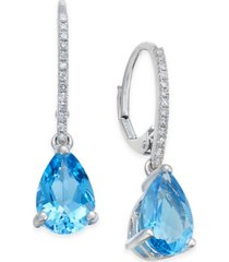 blue topaz (2-1/2 ct. t.w.) and diamond (1/10 ct.t.w.) drop earrings in 14k white gold