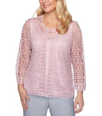 alfred dunner primrose garden 2-for-1 lace 3/4-sleeve top