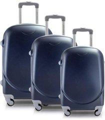 conjunto de mala de viagem 3 peças p, m e g select jacki design viagem azul