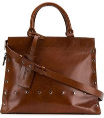 a.f.vandevorst studded shoulder bag - brown