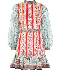 alice+olivia patchwork print mini dress - multicolour
