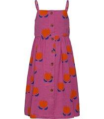 chocolate flowers all over woven dress jurk roze bobo choses