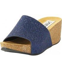 sandalia cuero glitter azul nara