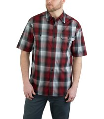wolverine men's axel short sleeve shirt red plaid, size l
