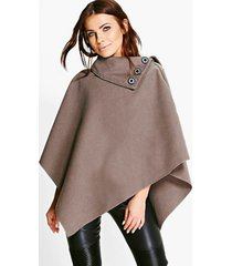 cape with buttons, mocha