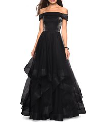 women's la femme off the shoulder evening dress