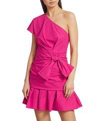 derek lam women's one-shoulder mini fit & flare dress - hot pink - size 8