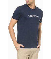 camiseta masculina slim flamê azul marinho calvin klein - pp