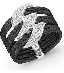 18k white gold black stainless steel diamond ring