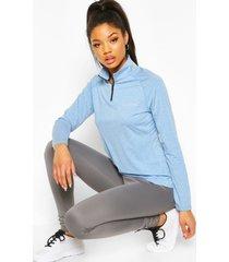 woman mergel fitness top met hoge hals, blauw