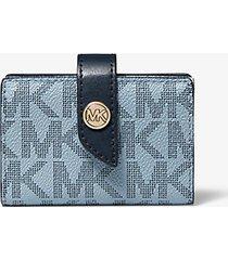 mk portafoglio piccolo con logo color block - navy cangiante (blu) - michael kors