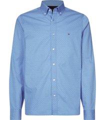 camisa de corte slim con estampado geométrico azul tommy hilfiger