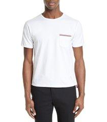men's thom browne stripe trim pocket t-shirt, size 2 - pink