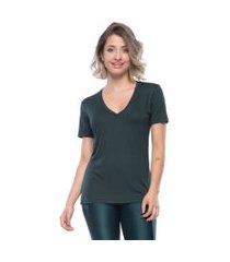 camisetas manga curta mulher elastica camiseta new beautiful v - verde escuro - p verde