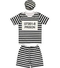 fantasia shorts e camiseta listrada douvelin preto - branco/preto - menino - poliã©ster - dafiti