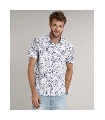 camisa masculina comfort estampada floral manga curta branca