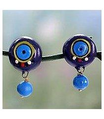 ceramic dangle earrings, 'indigo harmony' (india)