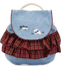 familiar ruffled denim backpack - multicolour
