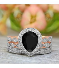 1.60 ct pear cut black diamond bridal wedding ring set 10k rose gold plated