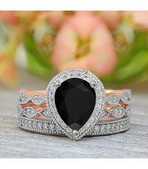 1.60 ct pear cut black diamond bridal wedding ring set 10k rose gold plated