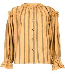 katoenen broderie blouse rosita  bruin