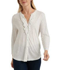 lucky brand ruffled polka-dot henley top