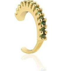 piercing de pressão piuka ivy argola zircônia esmeralda folheado a ouro 18k