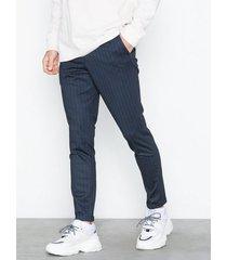 selected homme slhskinny-jersey pants b byxor mörk blå