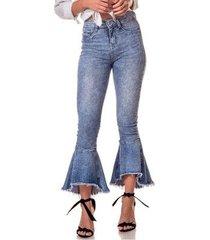 calça jeans denim zero boot cut média cropped efeito respingos feminina