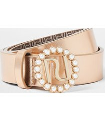 river island girls rose gold metallic pearl trim belt
