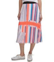 dkny printed pleated pull-on midi skirt