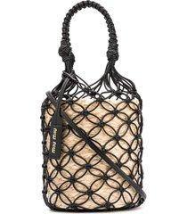 miu miu mesh straw bucket bag