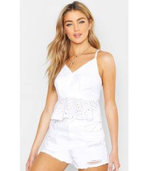broderie anglaise peplum top, white