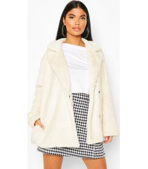 petite double breasted cropped teddy coat, cream