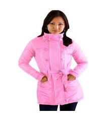 casaco trench coat acolchoado feminino inverno rosa