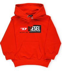 diesel logo patchwork hoodie