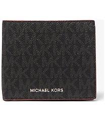 mk portafoglio a libro greyson con logo e tasca per monete - blk/rc rd - michael kors