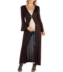 24seven comfort apparel women's long sleeve maxi length maternity cardigan