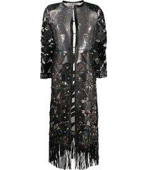 caban romantic floral rhinestone-embellished coat - black