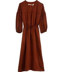 silk sateen bell sleeve dress in dark mocha