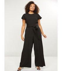 lane bryant women's lena seamed wide leg jumpsuit 26 black