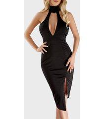 black choker neck cutout chest asymmetrical bodycon dress