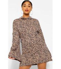 plus leopard roll neck flare sleeve sweater dress, camel