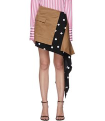 'cascade' asymmetric hem polka dot panel mini skirt