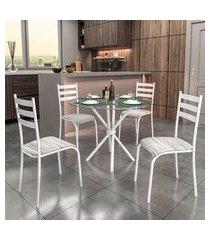 conjunto de mesa com tampo de vidro e 4 cadeiras istambul ii branco