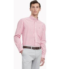 tommy hilfiger men's classic fit essential check shirt apple red - xxxl