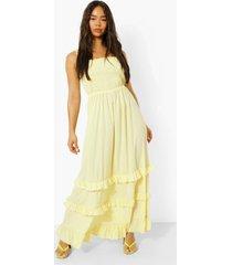katoenen maxi jurk met uitgesneden hals, strik en laagjes, lemon