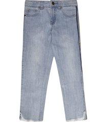 rainbow stripe fringed cuff jeans