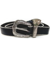 cinturon hebilla y punta perlado negro guinda