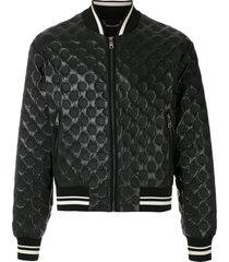 dolce & gabbana circle embossed bomber jacket - black